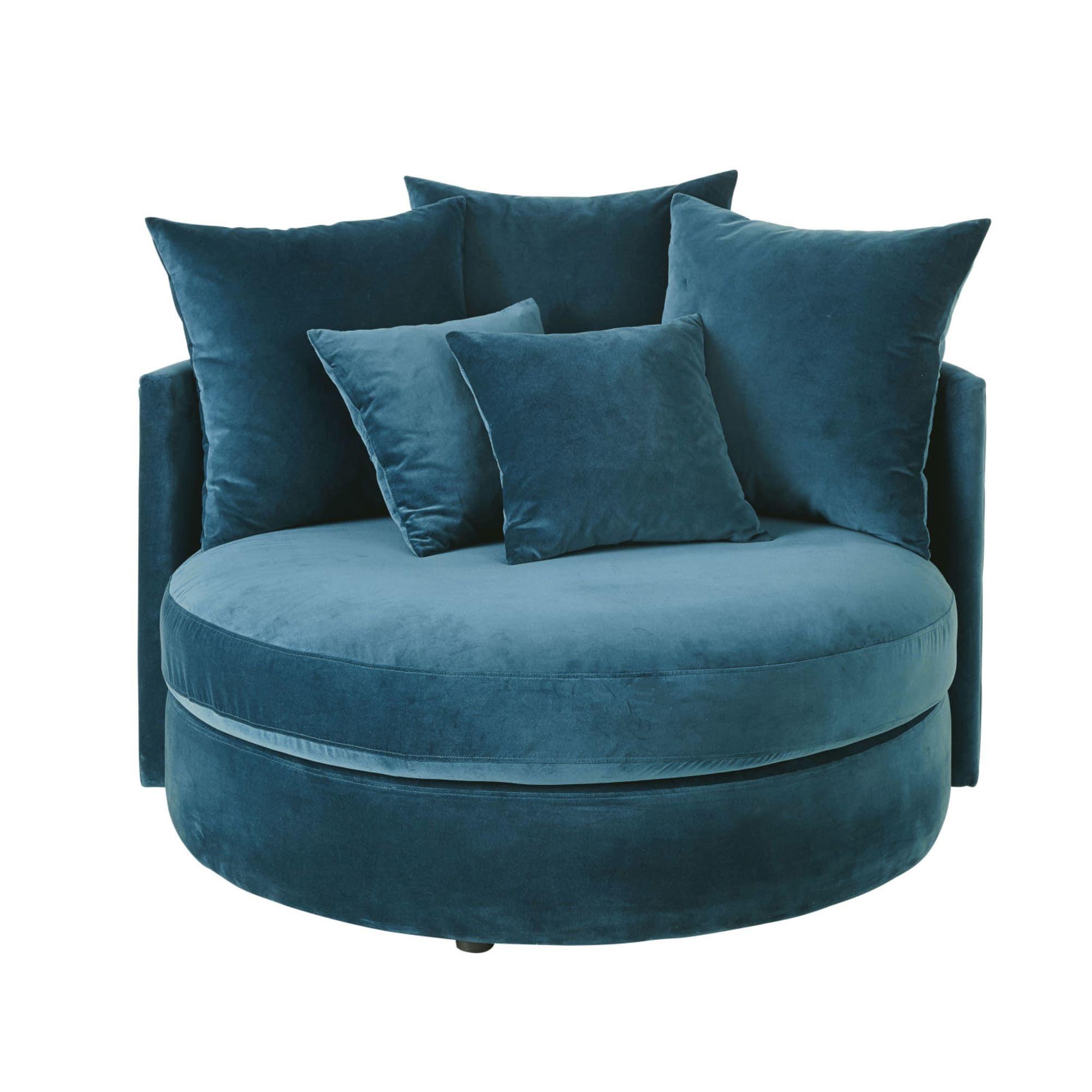 Petrol Blue 1 2 Seater Round Velvet Sofa Dita Maisons Du Monde Blue Sofa Chair Velvet Sofa Petrol Blue