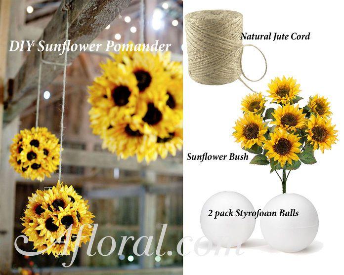 Diy Sunflower Pomander Sunflower Wedding Decorations Sunflower Wedding Sunflower Bridal Shower