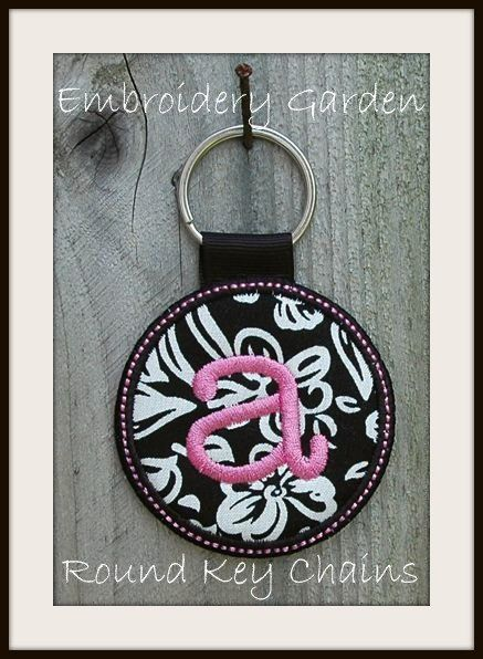 In the Hoop Monogram Round Key Chain Machine Embroidery