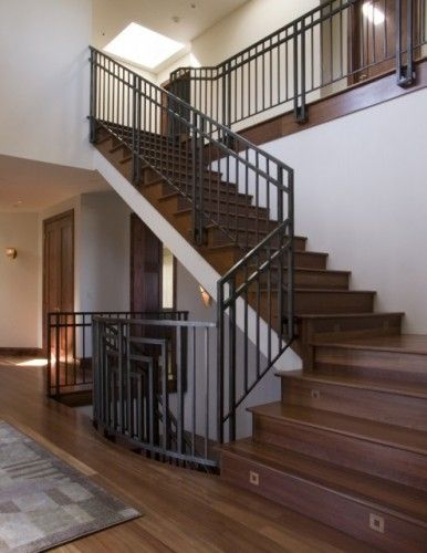 Best Wood Stairs With Lights And Rod Iron Railings 400 x 300