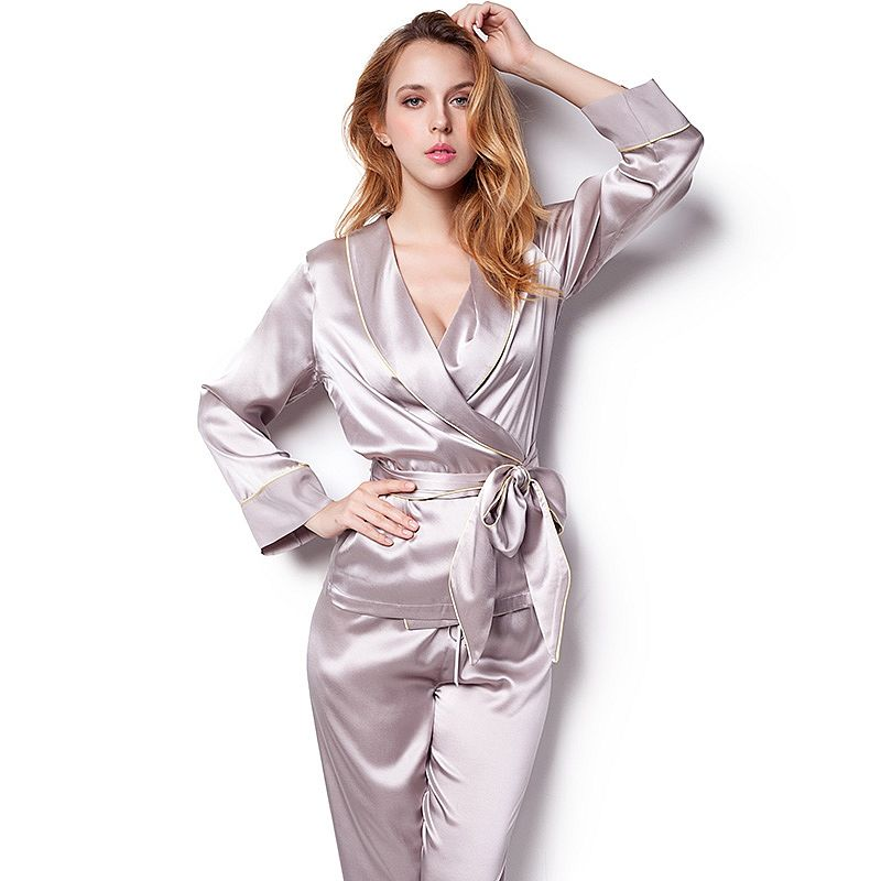 Pink Robe and Pants Womens Silk Pajamas Set with Belt and Black Trim 66f693d5f7