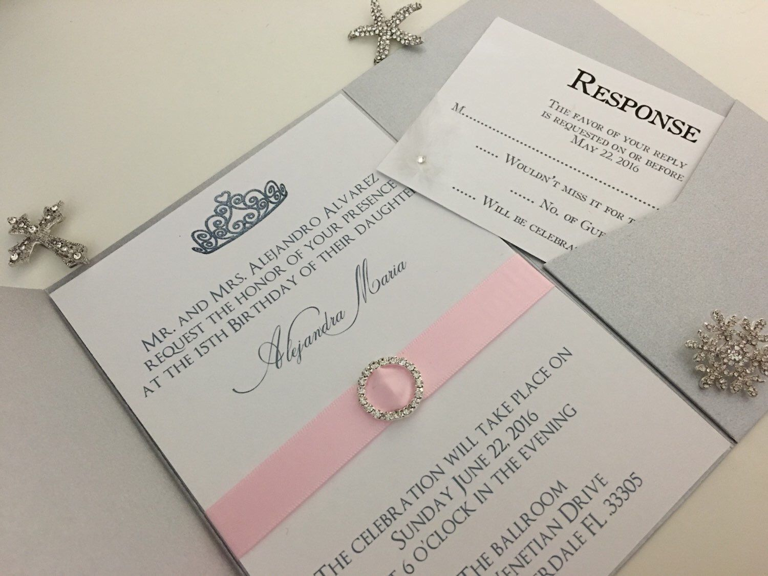 wedding invitation quote in english%0A Princess themed Quinceanera Invitation shown in silver and blush pink with  crystal circle charm  All