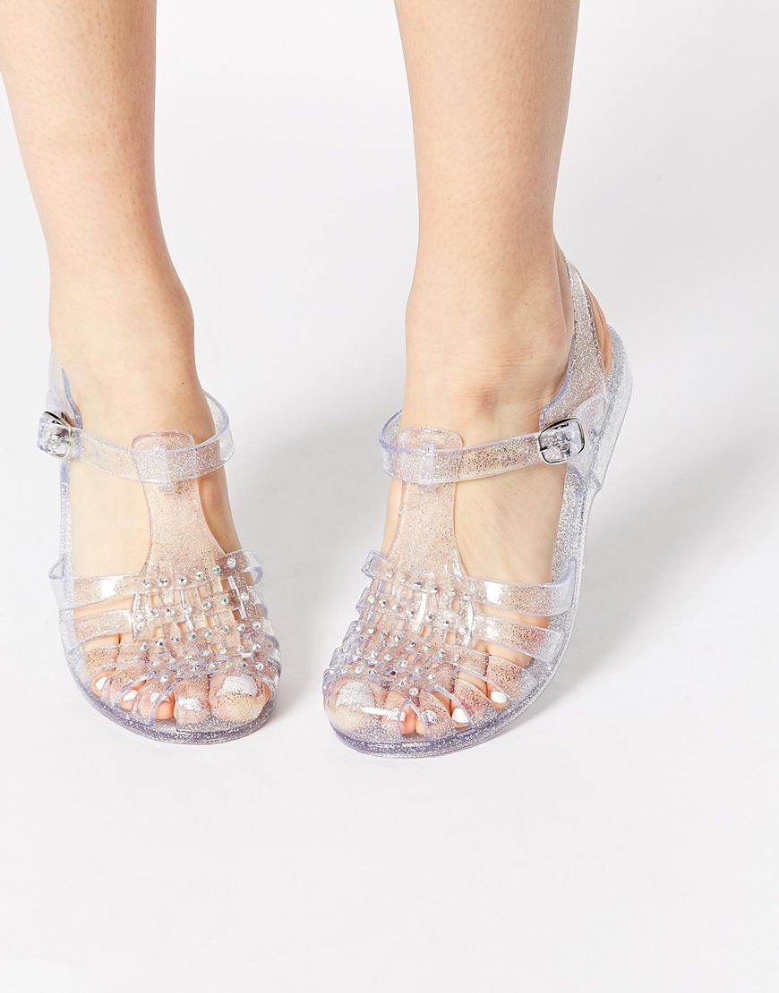 08f845dde381e8 New Look Jellytot Embellished Flat Jelly Shoes