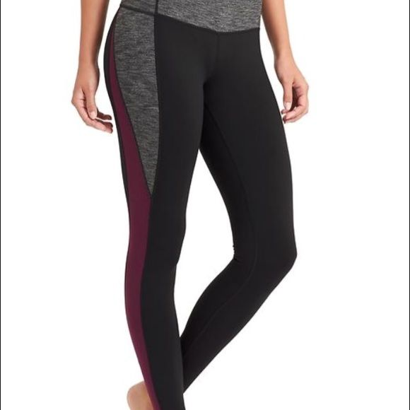 6048aef1c307c Athleta Colorblock workout pants/tights Athleta Revelation Colorblock  tight. Black, grey & chianti colors. Performance fitted, medium rise with  SPF 50.
