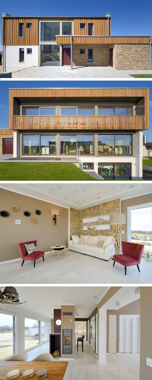 Modernes Architektenhaus mit Flachdach und Holzfassade - Design-Haus ...