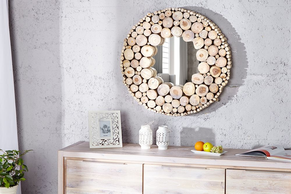 Der fast kreisförmige Wandspiegel  - designer mobel aus treibholz