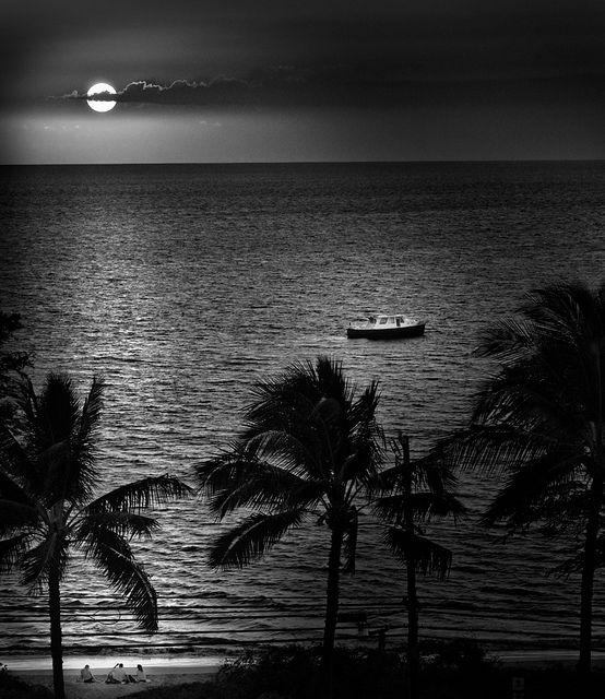 Maui Kihei Hawaii Sunset boat people beach palm trees | Flickr - Photo Sharing!