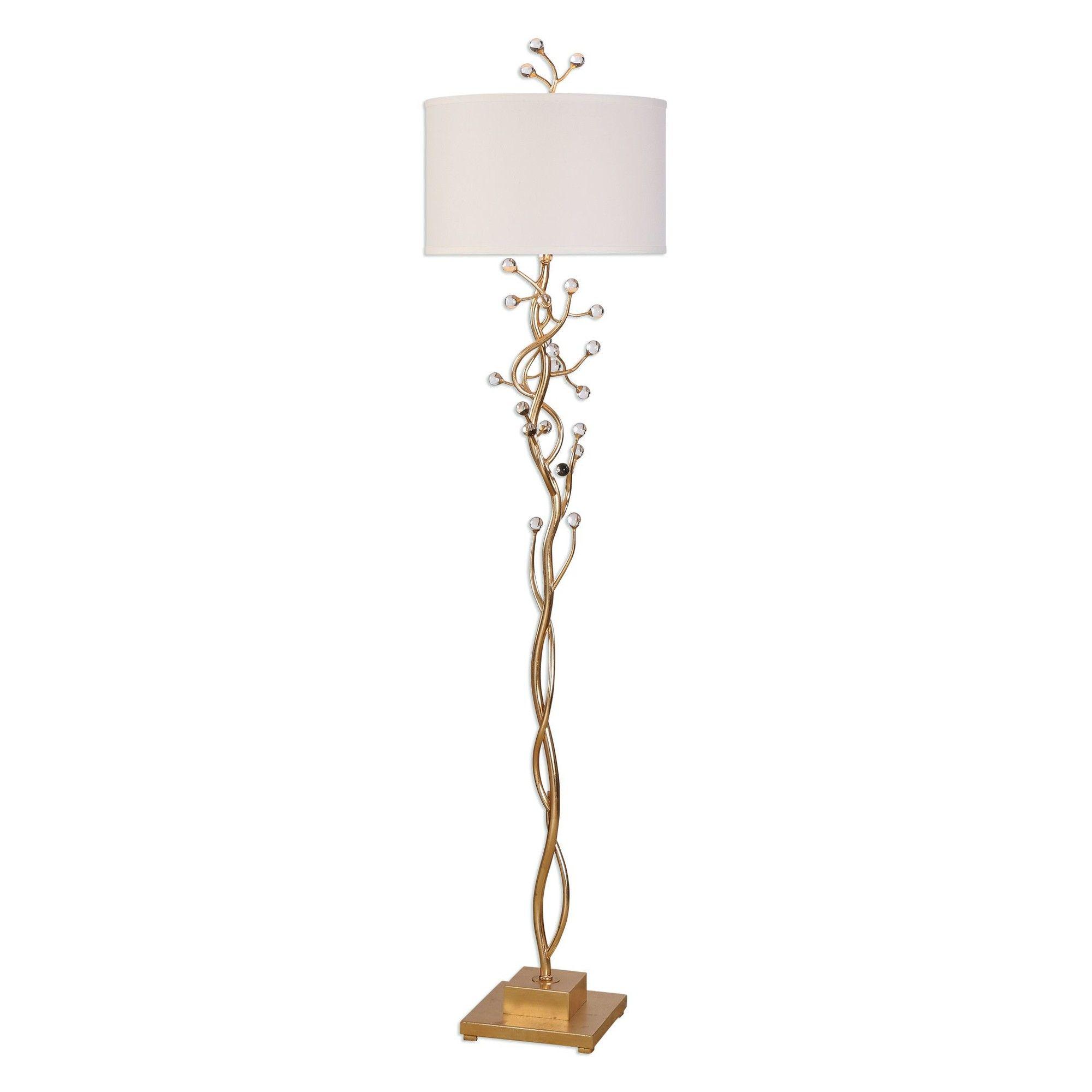"Garson 68.25"" Torchiere Floor Lamp Gold floor lamp"