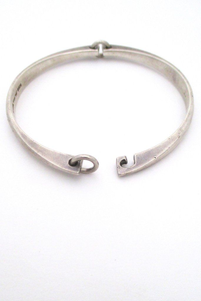 bracelet pin hansen hans sterling silver denmark bangles danish mid hinged clasp century bangle and modern
