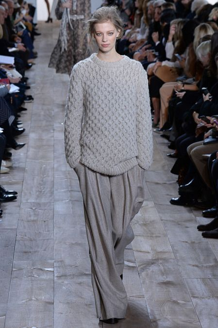 Michael Kors F/W 2014, grey sweater, wide-leg grey trousers