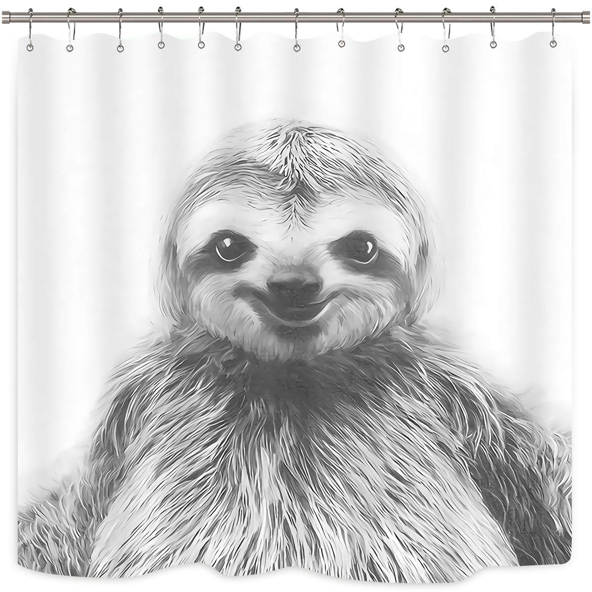Wowzone Black And White Sloth Shower Curtain Portrait Set Funny