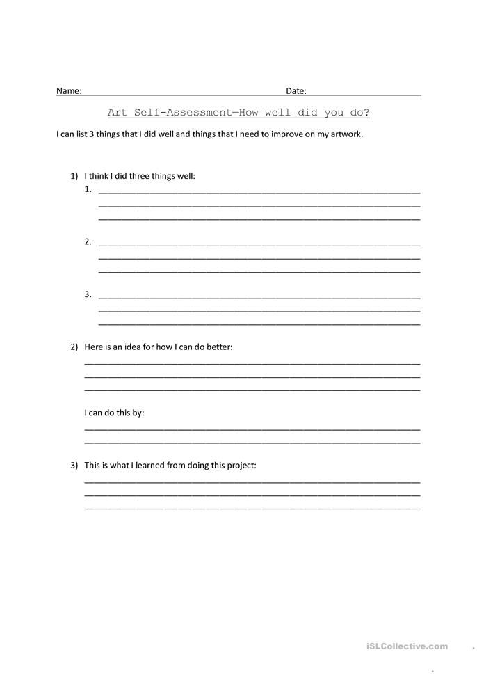 art self assessment Art Assessment Pinterest Worksheets - self assessment essay