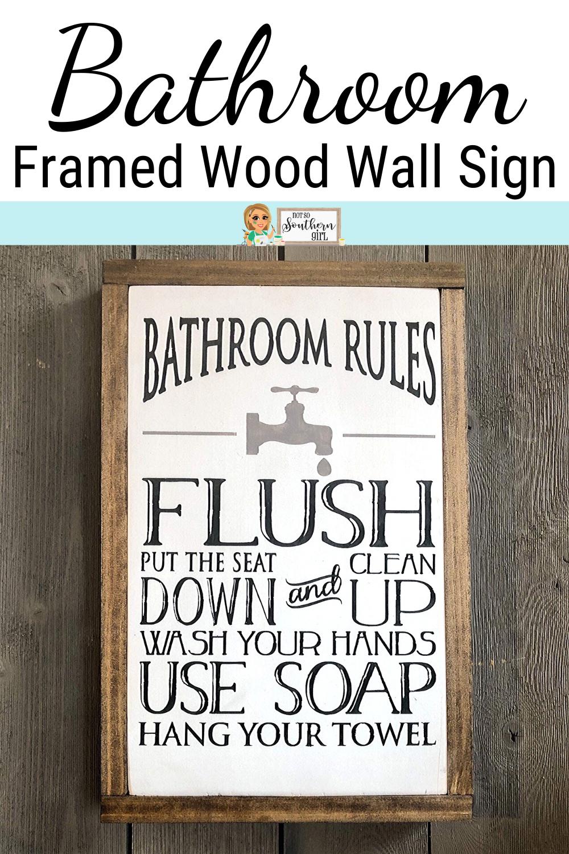 Photo of Farmhouse Bathroom Framed Wood Wall Sign