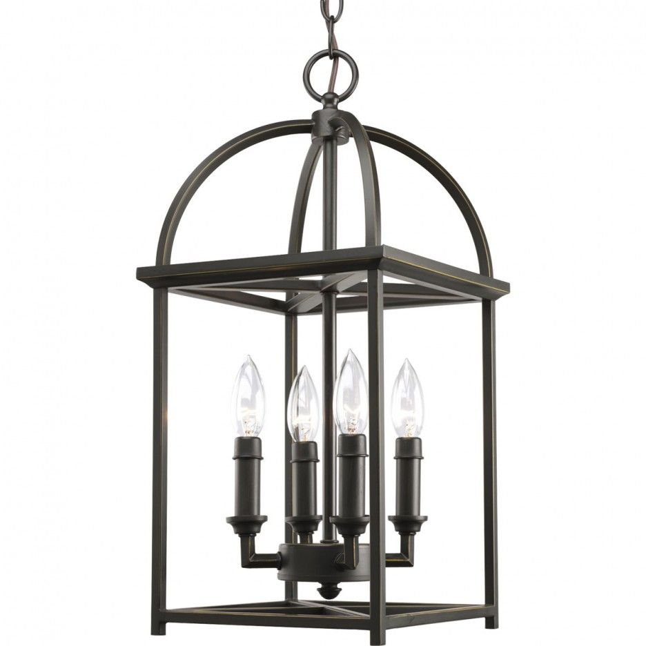 4 Lights Traditional Shaker Foyer Lantern Lighting In Antique Bronze Finish With Open Arching Roof Foyer Lighting Fixtures Entry Lighting Progress Lighting