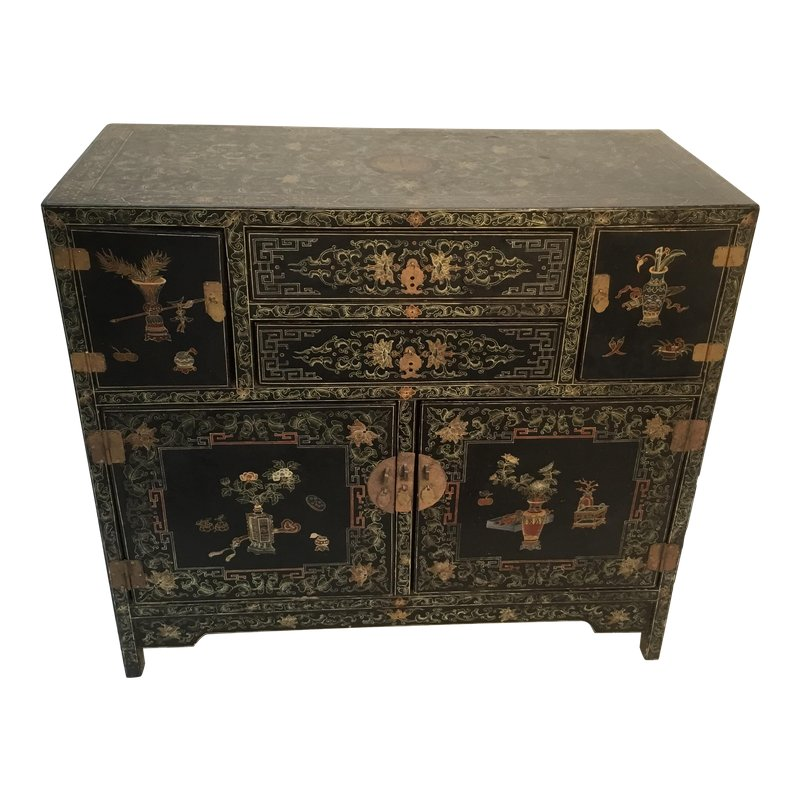 19th Century Asian Antique Hand Painted Lacquer Cabinet Antiques Oriental Furniture Antique Cabinets