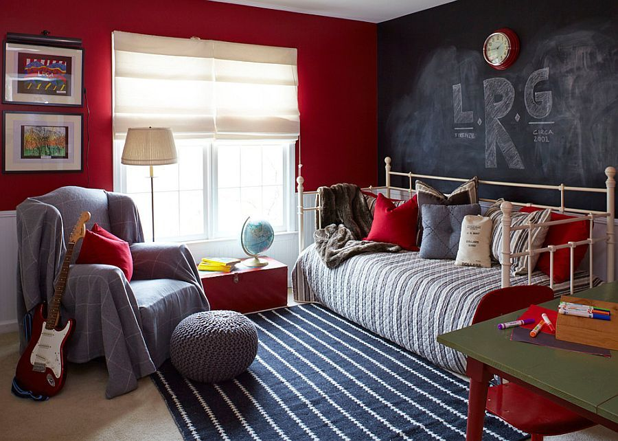 Daybed And Chalkboard Wall Create A More Informal And Fun Bedroom   Decoist  Lisa Gabrielson Design