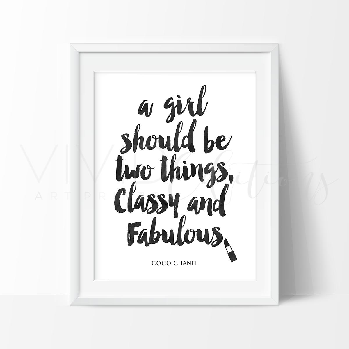 Classy u fabulous chanel quote black u white watercolor art print
