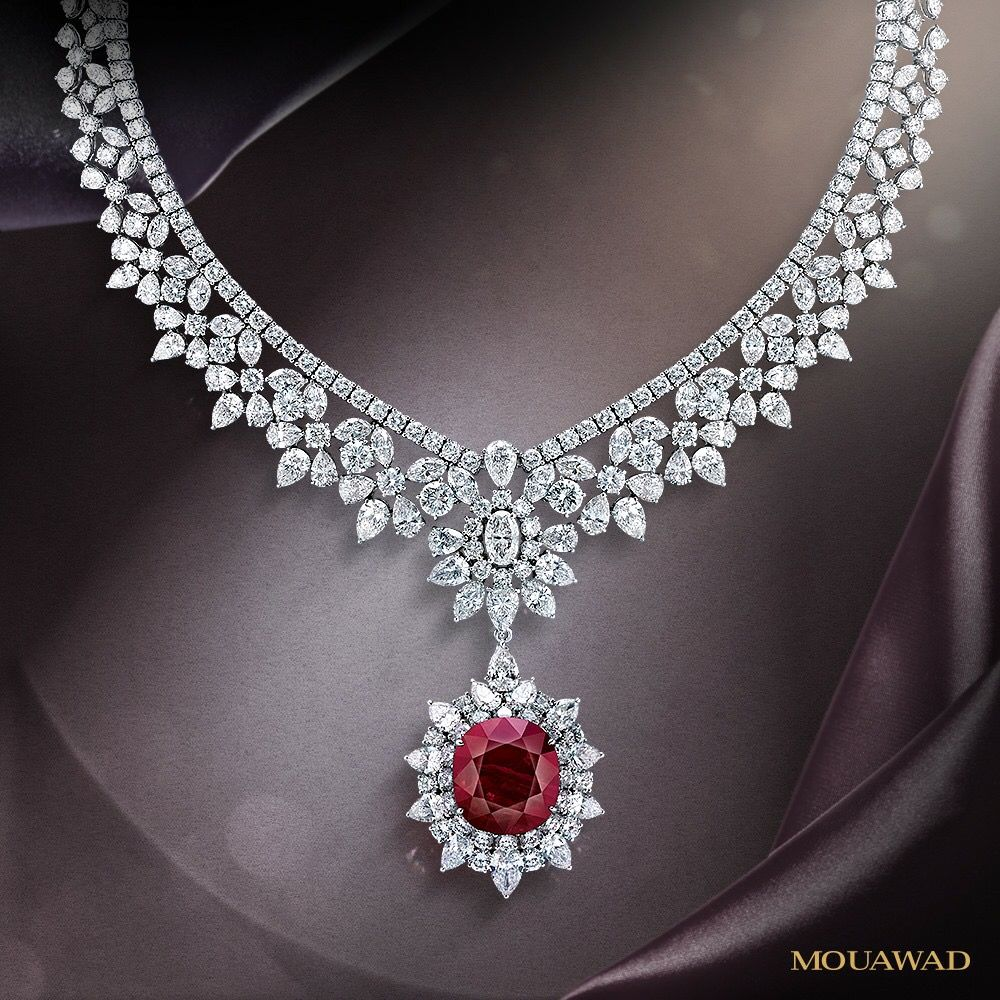 077cfb7e94af4 Mouawad Ruby and Diamond necklace … | mihran's pins Collection | Ruby,…