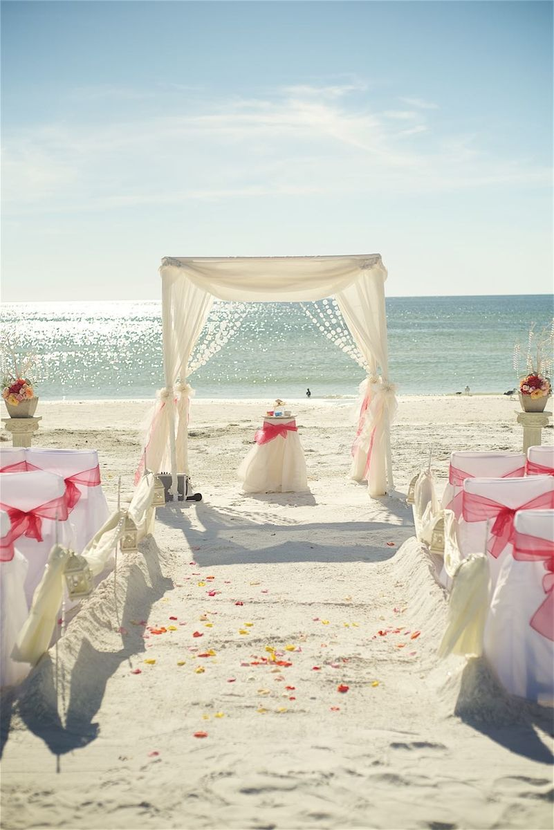 Fuchsia Pink Beach Wedding Destination Wedding Florida