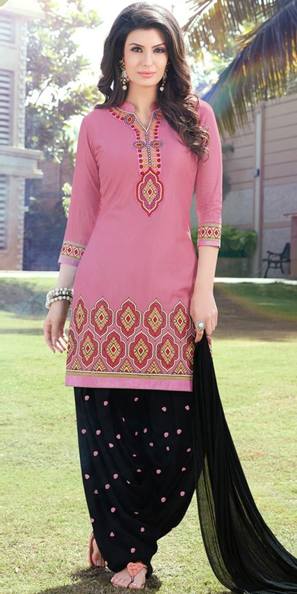 c6f6d6624b Radiant Pink And Black Cotton Patiala Suit. | kurti in 2019 ...