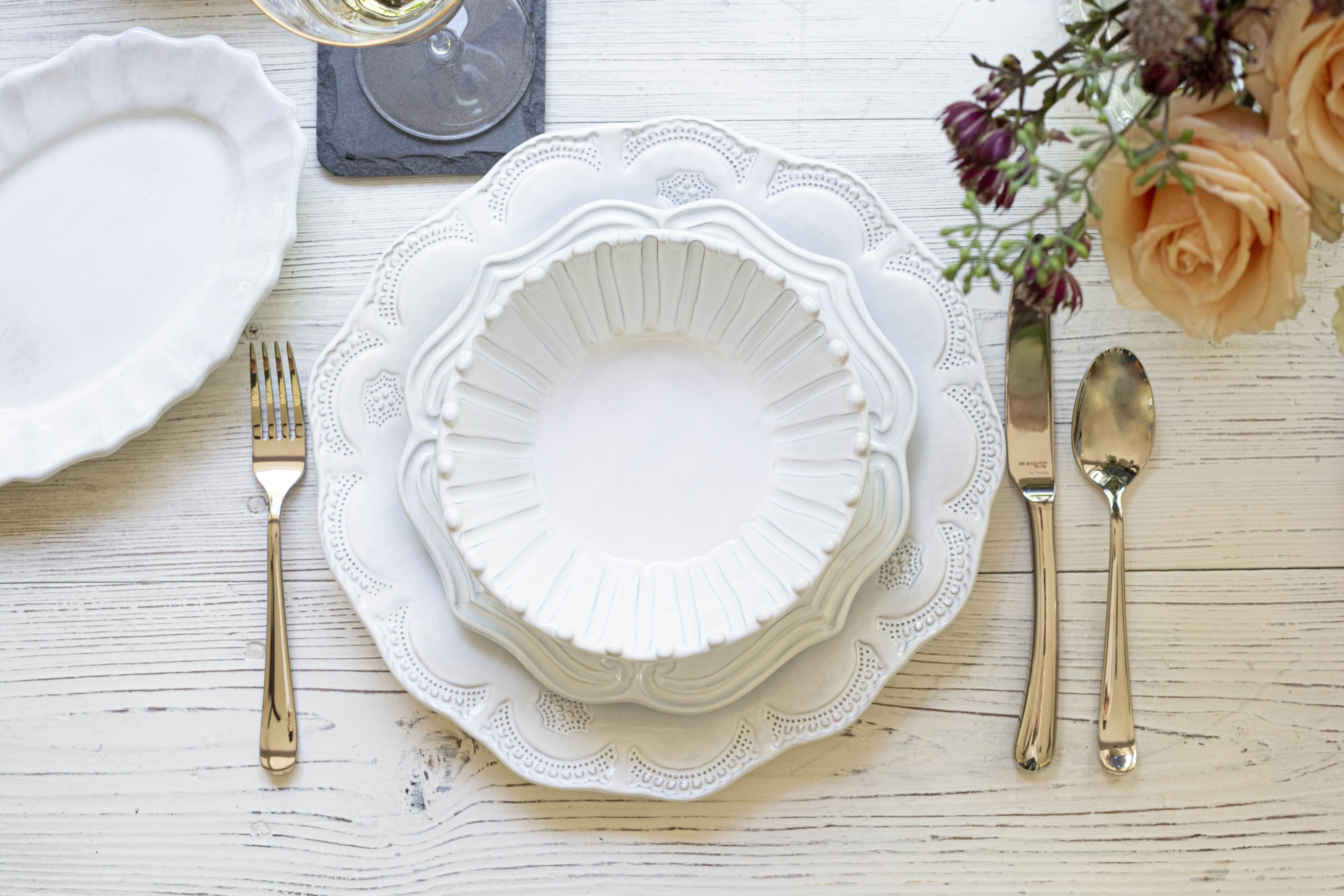 Pretty and elegant white party table setting