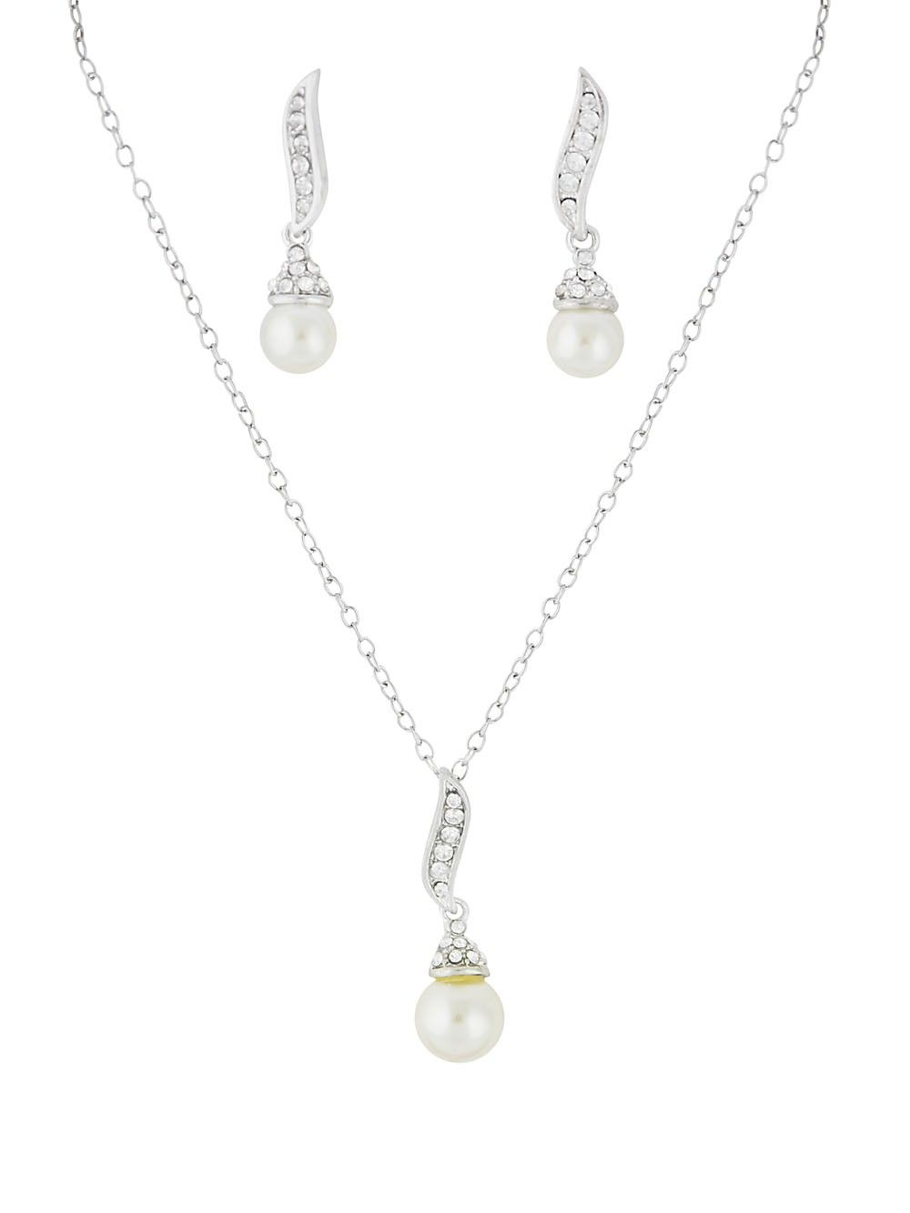 Pearl pendant short necklace pendants earrings and earring set