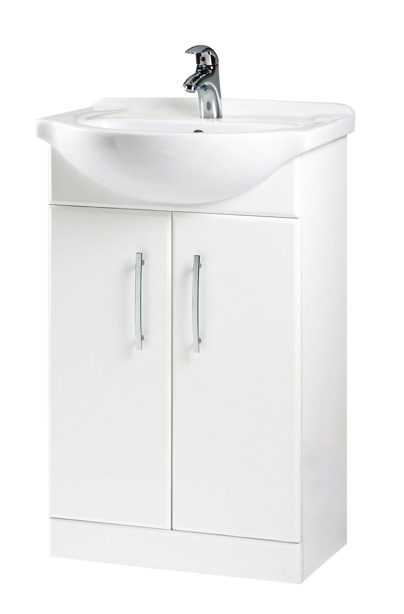 b q white vanity unit basin departments diy at b q from bq bathroom storage units - Bathroom Cabinets B Q