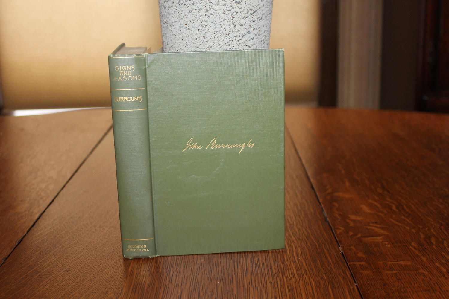 Signs And Seasons By John Burroughs Vintage Book Antique Book Green Book Green And Gold Green Decor By Carishome O Antique Books Green Books Vintage Books