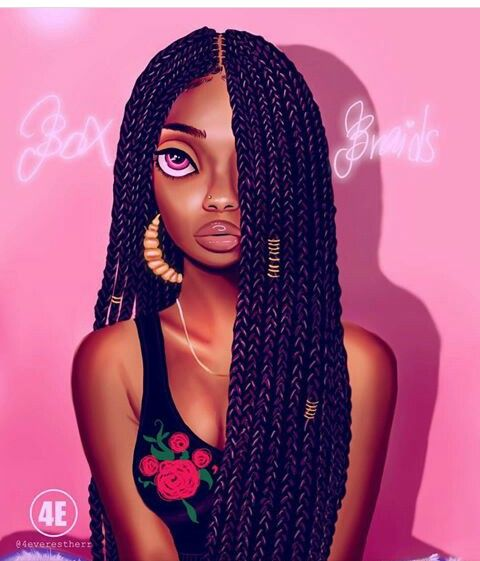 Long Braids Black Girl Art Black Women Art Natural Hair Art
