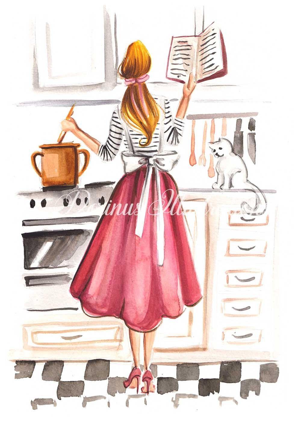 Kitchen Decor Fashion Illustration Food Lover Art Art For Girls Art For Women Art For Mom Kitche Fashion Illustration Illustration Girl Digital Art Girl