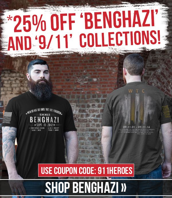 Take 25% off our Benghazi and 9/11 collections now through September 11 at 11:59 p.m. EST! Use coupon code 911HEROES before you checkout.   Visit Ninelineapparel.com to shop all of our designs!   #coupon #25off #september11 #deals #ninelineapparel #militaryapparel #mensapparel #womensapparel