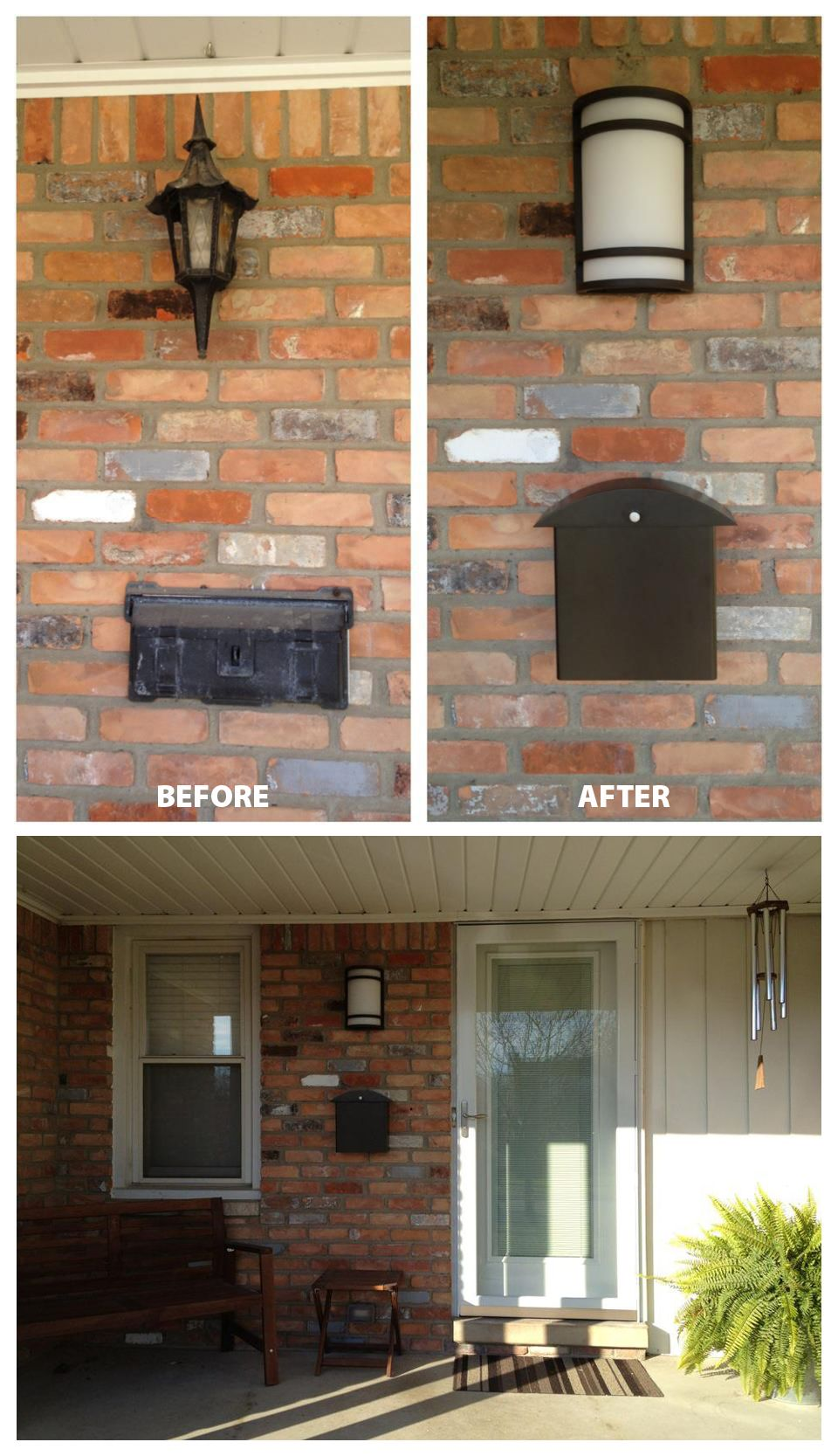 Front Porch Light Mailbox Before After Front Porch Lighting Porch Lighting Outdoor Decor