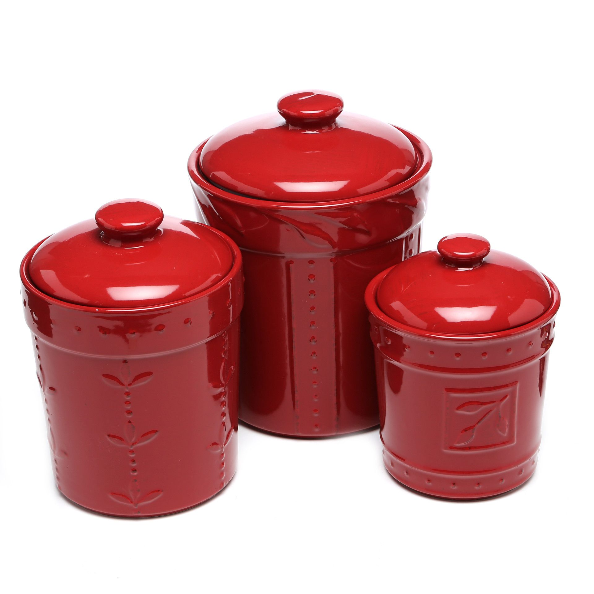 Tuscan old world drake design medium berry kitchen canisters set of 3 - Abigail 3 Piece Canister Lid Set