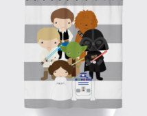 Star Wars Shower Curtain Fabric Little Kid Character Quote