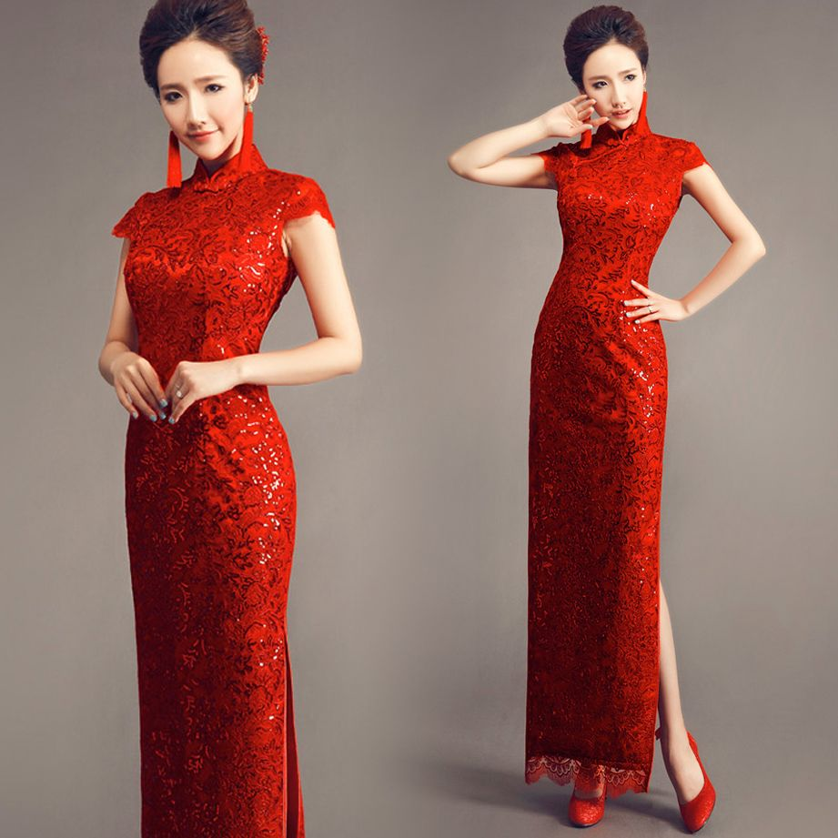 eb8c4bb56b3 Solid red traditional long cheongsam sequin lace qipao Chinese bridal  wedding dress