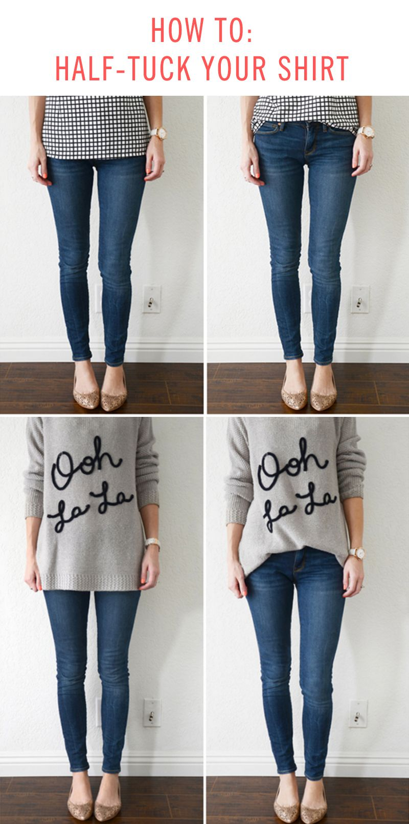 How to half tuck your shirts tutorials learning and clothes for How to tuck in shirt