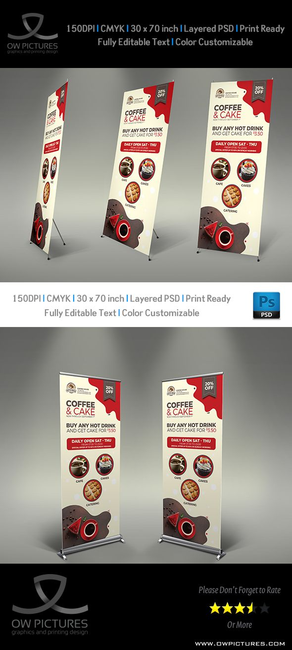 Coffee and Cake Signage Banner Roll Up Template