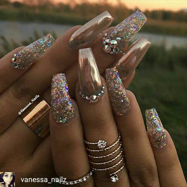 Maisieleblanc Glittery Nails Nail Designs Chrome Nails Designs