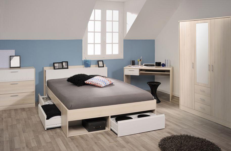 Schlafzimmer Mit Bett 140 X 200 Cm Akazie  Weiss Woody 167-00549