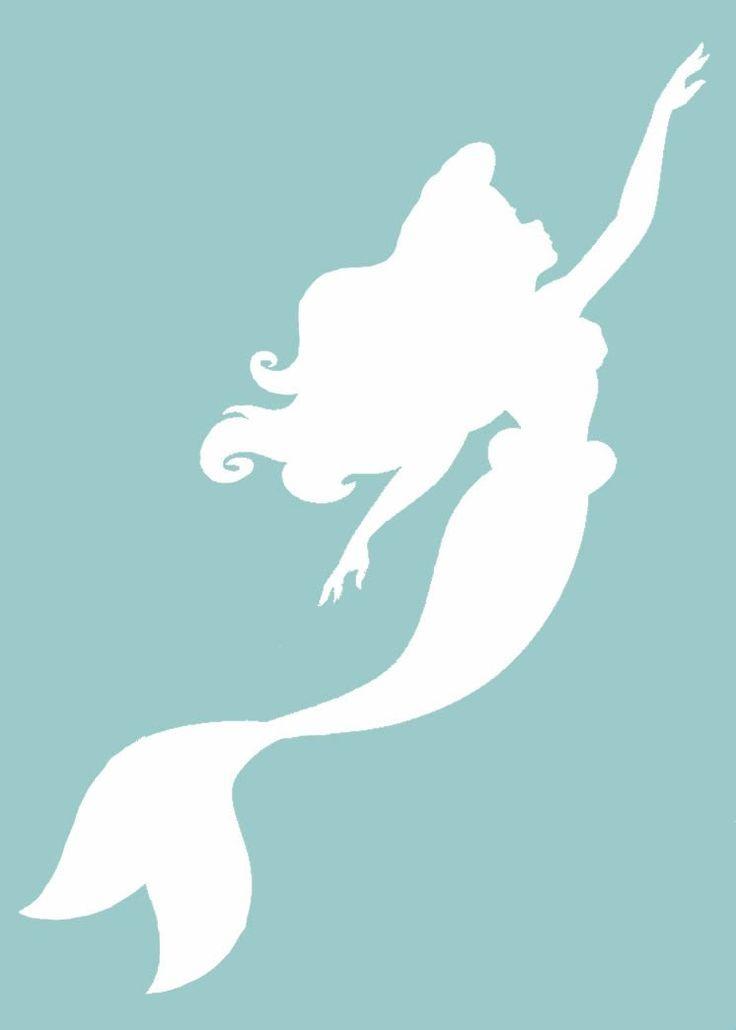 Mermaid Silhouette Amazon Com Ariel The Little Mermaid 6 White Vinyl Car Truck Decal Little Mermaid Silhouette Mermaid Drawings Mermaid Outline