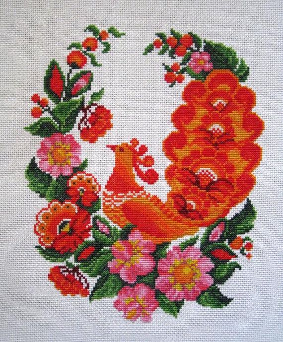 Completed CrossStitch Traditional Ukrainian Embroidery Ornament - red and orange rooster (Petrikovskaya painting style) £44