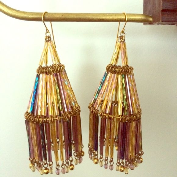 Prismatic Chandelier Earrings Glass cylinder beads cascade from French ear wires. From Anthropologie. 3 inch length. Perfect condition. Anthropologie Jewelry Earrings