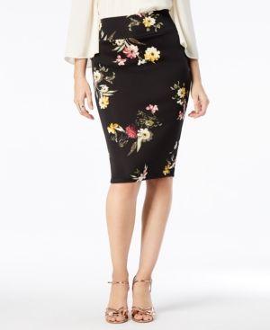 b187a34b8b Thalia Sodi Printed Scuba Pencil Skirt, Created for Macy's - Black XXL
