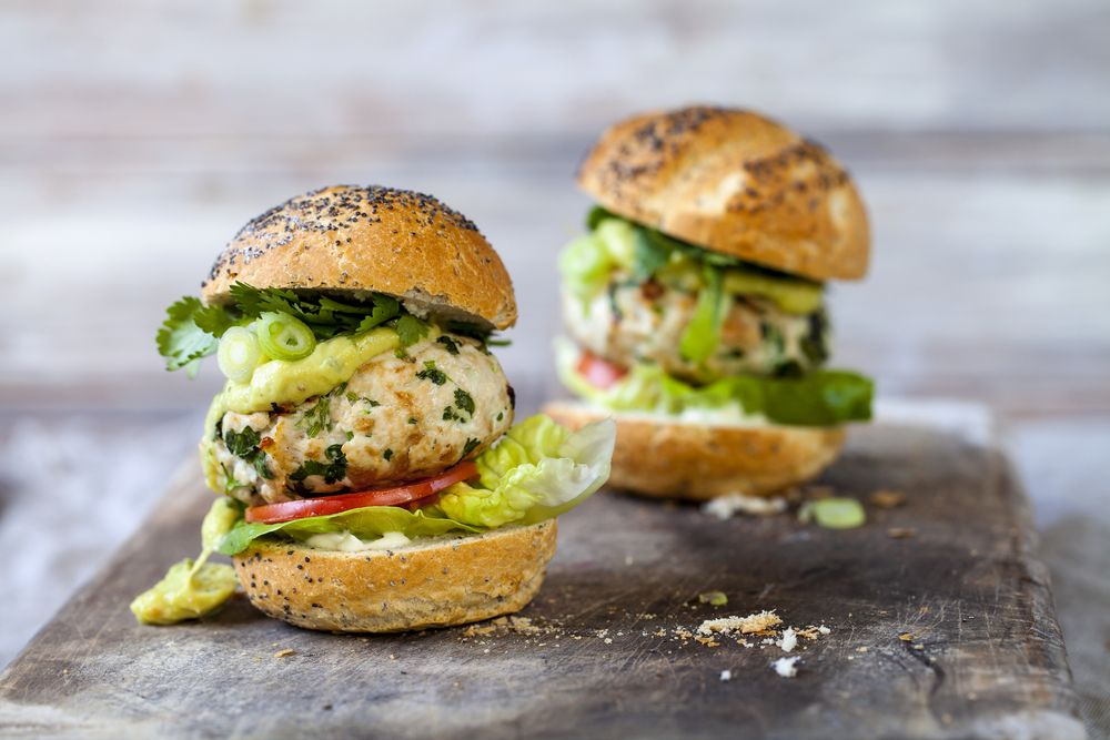 Looking for something lighter and healthier than a beef burger? Our turkey burgers with avocado and hummus should do the trick.