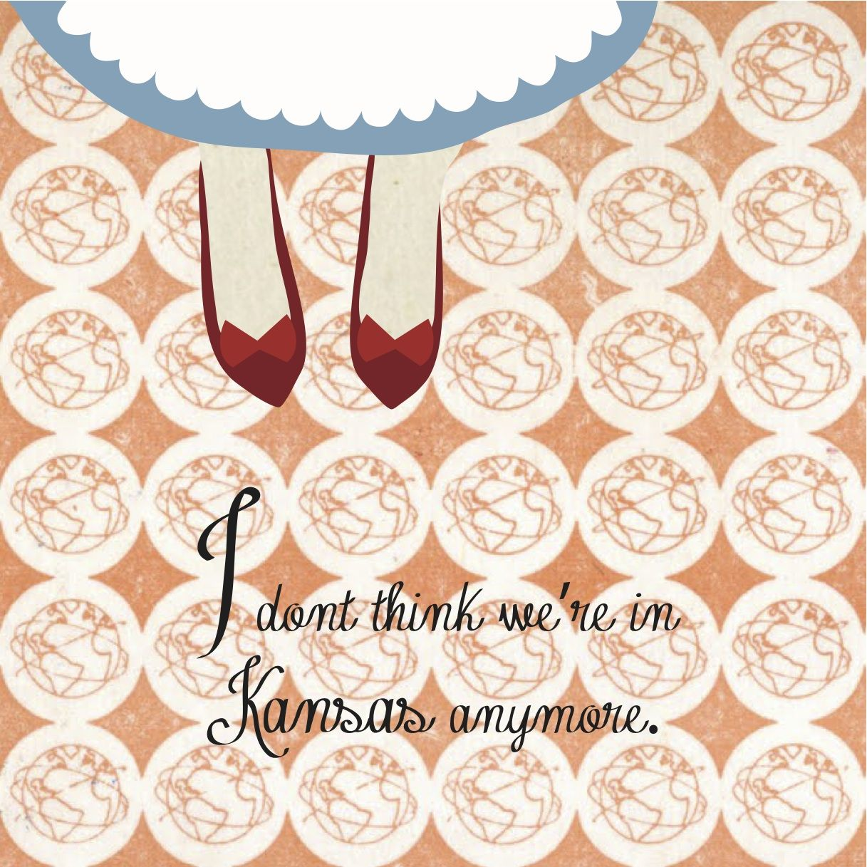 Wizard Of Oz Dorothy In Red Shoes With Vintage Wallpaper Graphic