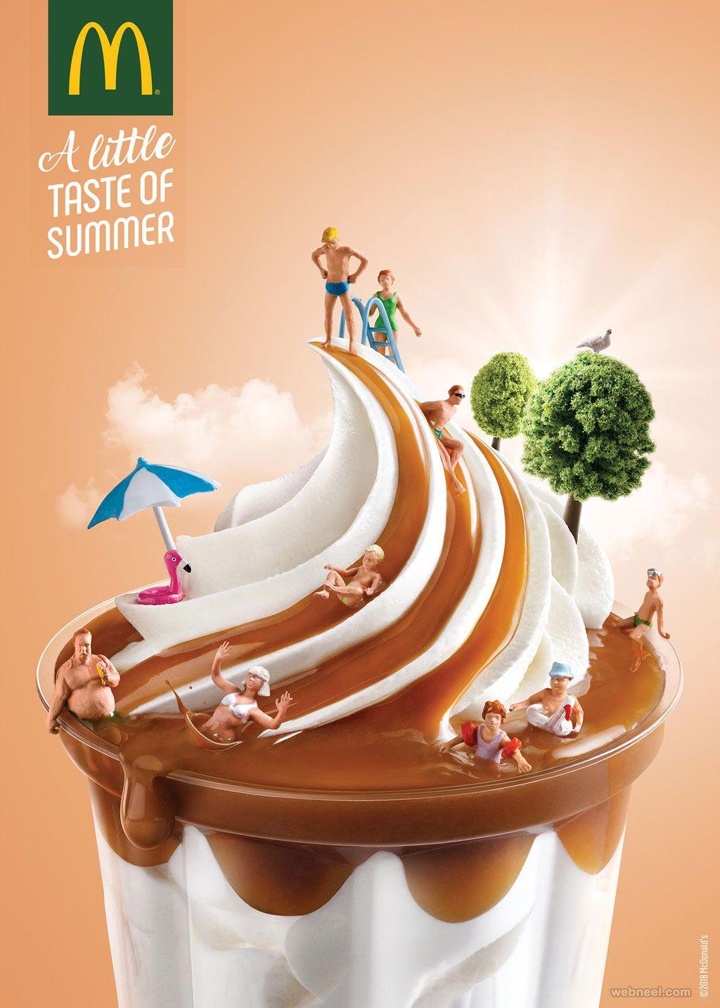 print advertisement mcdonald icecream 음식 포스터, 광고 디자인, 사진