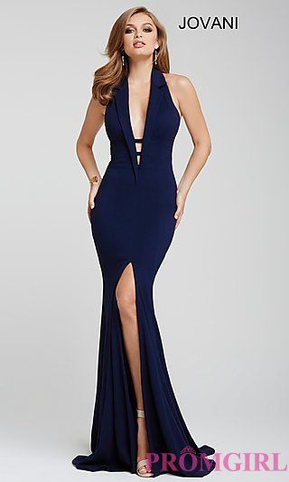 83379e7852 Long Deep V-Neck Halter Prom Dress by Jovani at PromGirl.com ...