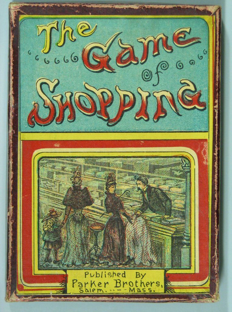 """Gilded Age society ladies and child, buying fabric/shopping. As pictured on the cover of the card game, """"The Game of Shopping"""". Parker Brothers. ~~ (The Strong Museum) ~~ {cwl}"""