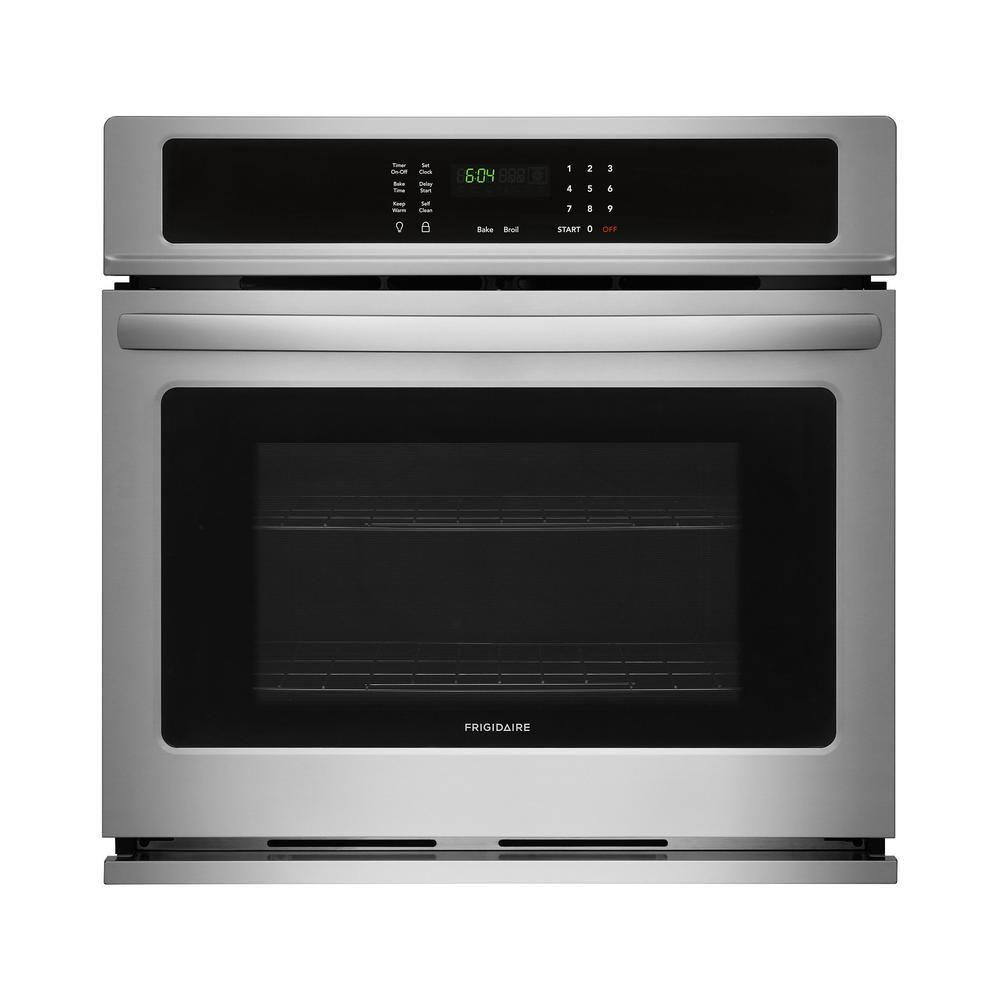 Frigidaire 30 In Single Electric Wall Oven Self Cleaning In Black Stainless Steel Ffew3026td The Home Depot Electric Wall Oven Stainless Steel Oven Single Electric Wall Oven