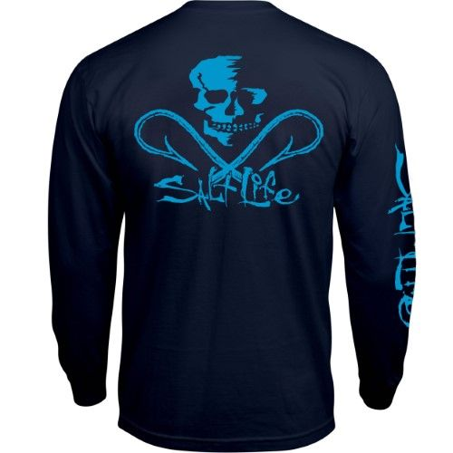 e5921953 Salt Life Men's Neon Skull And Hooks Long Sleeve Pocket T-shirt Navy 2XL,  Blue